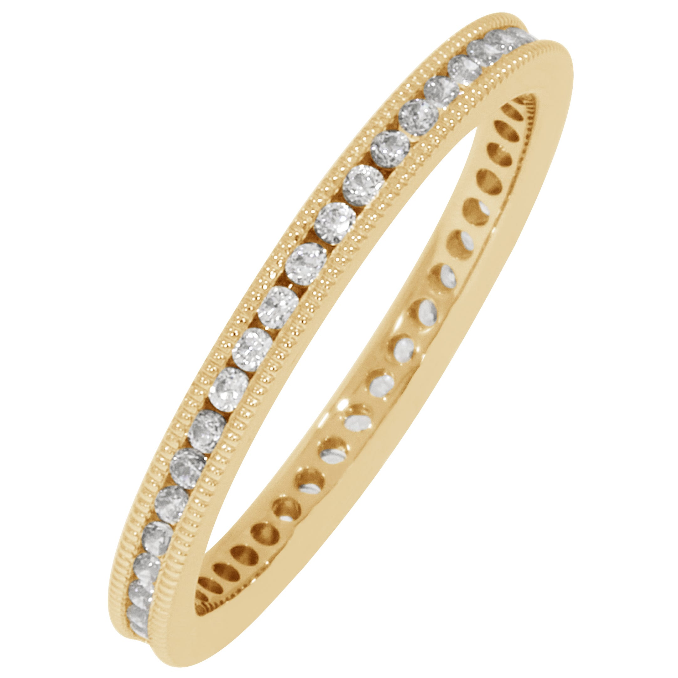 Round Milgrain Edge 1/3ctw. Eternity Band in 18K Yellow Gold (GH, SI)