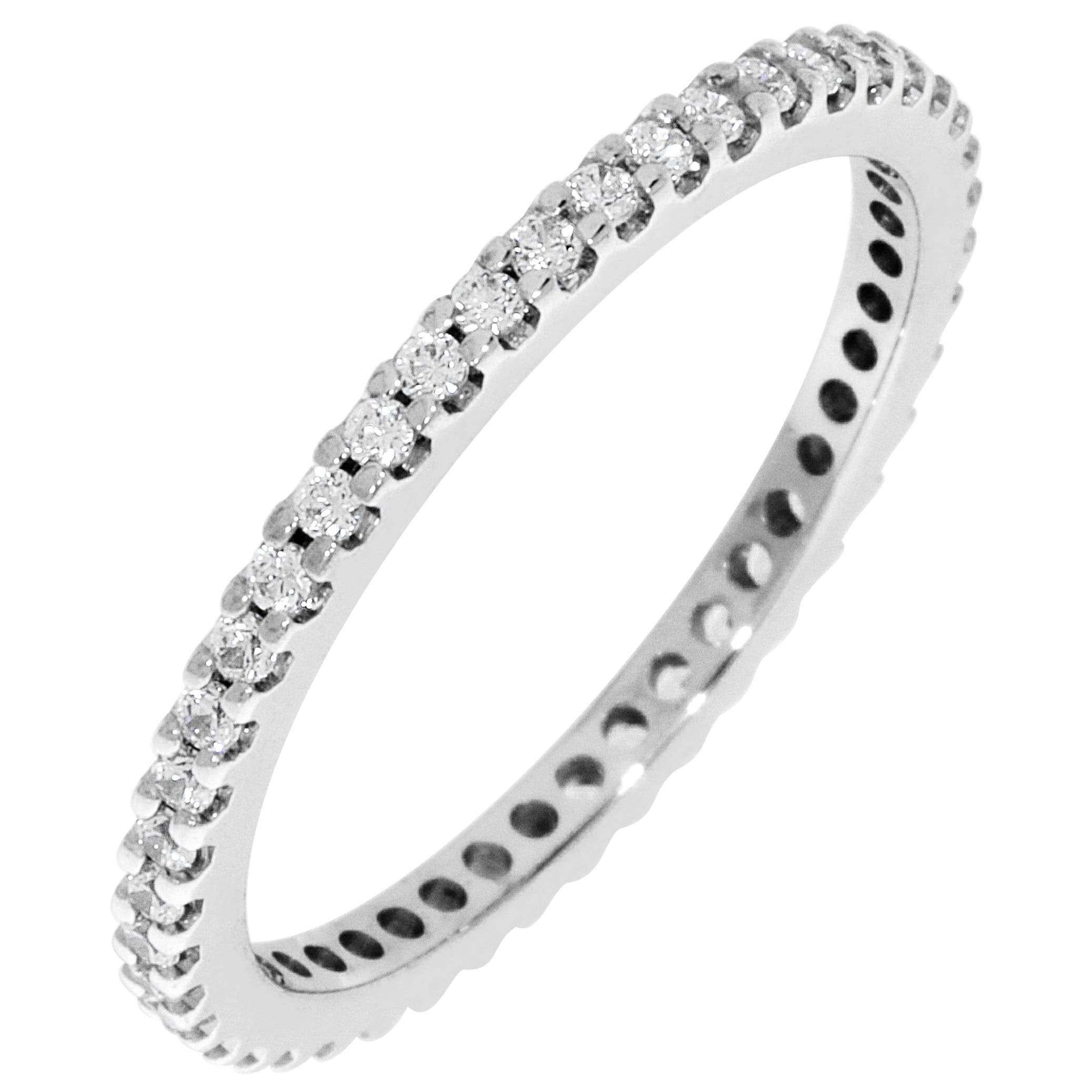 Round Prong Set 1/3ctw. Eternity Band in 14K White Gold (GH, SI2)