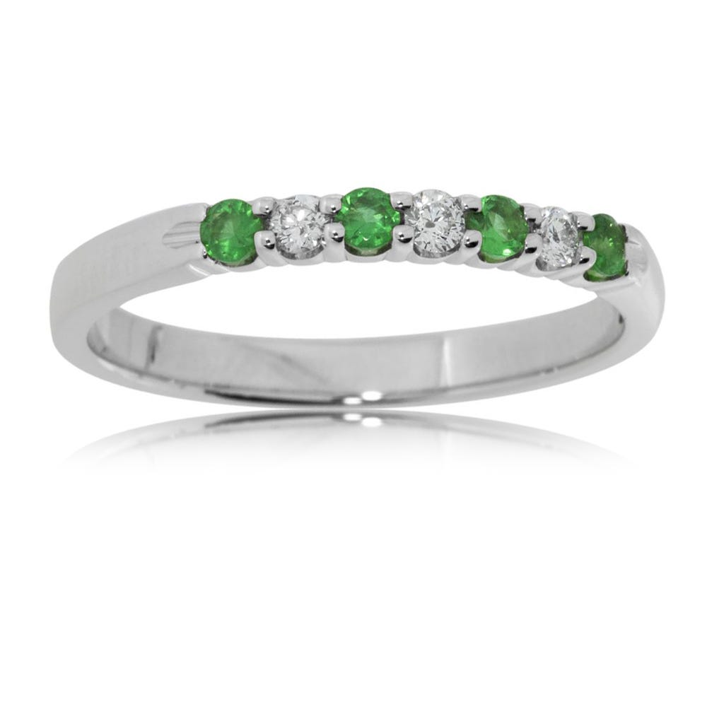 Diamond & Emerald Prong Set .15ctw. Band in 14k White Gold
