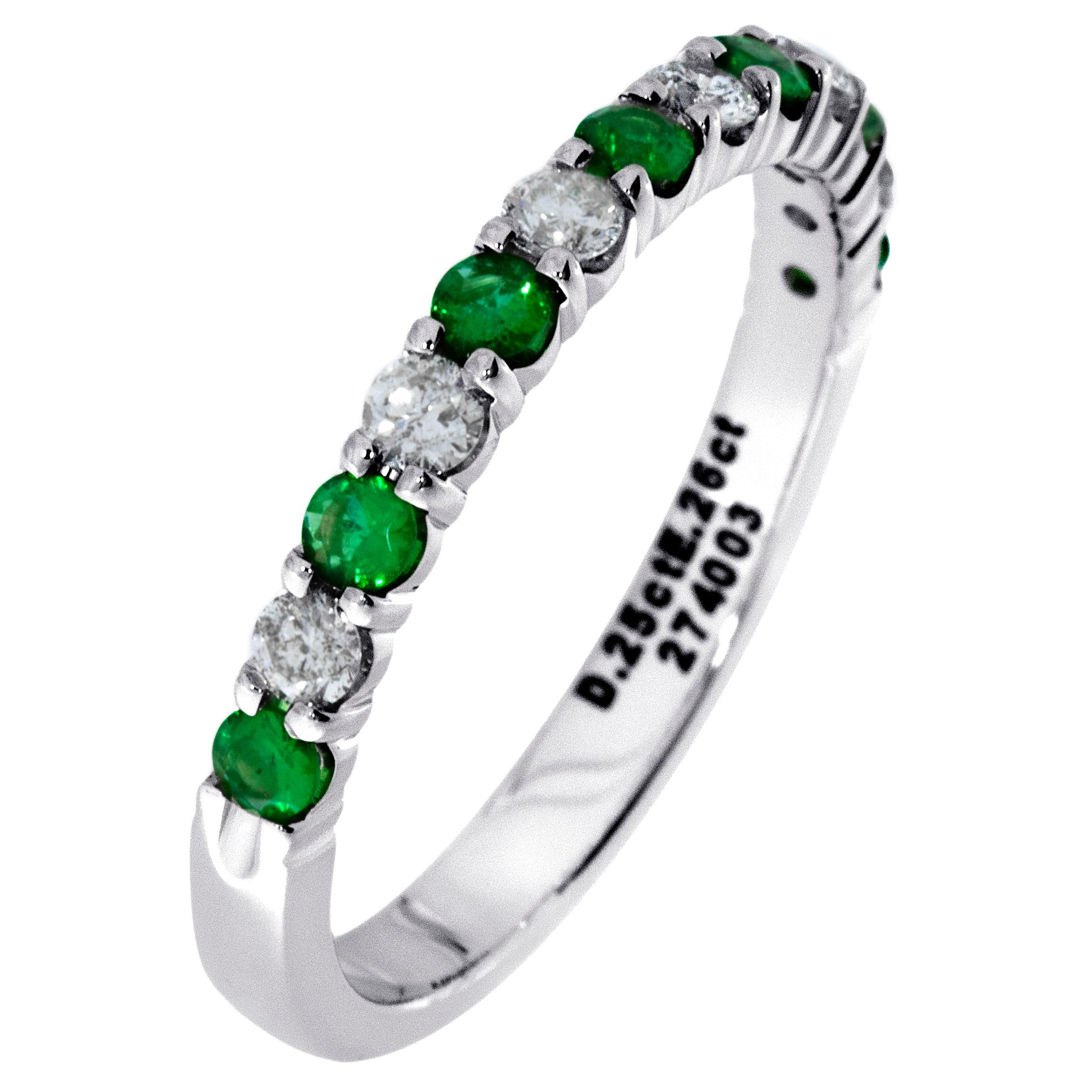 Diamond & Emerald Prong Set 1/4ctw. Band in 14k White Gold