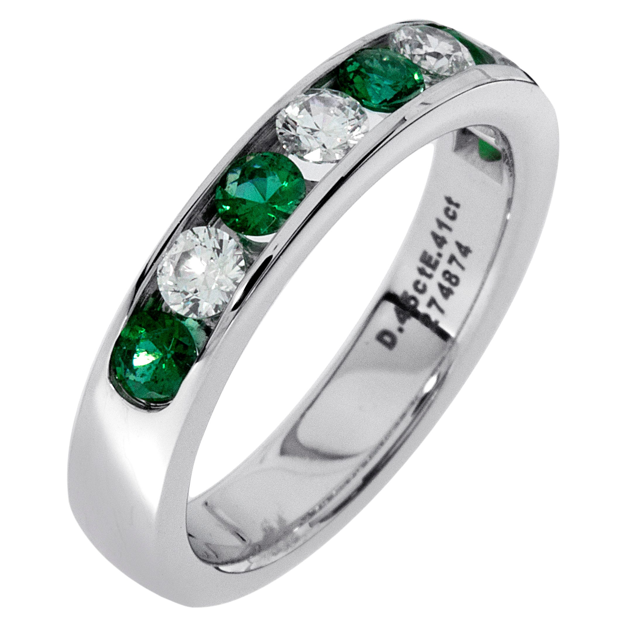 Diamond & Emerald Channel Set 0.55ctw. Band in 14k White Gold