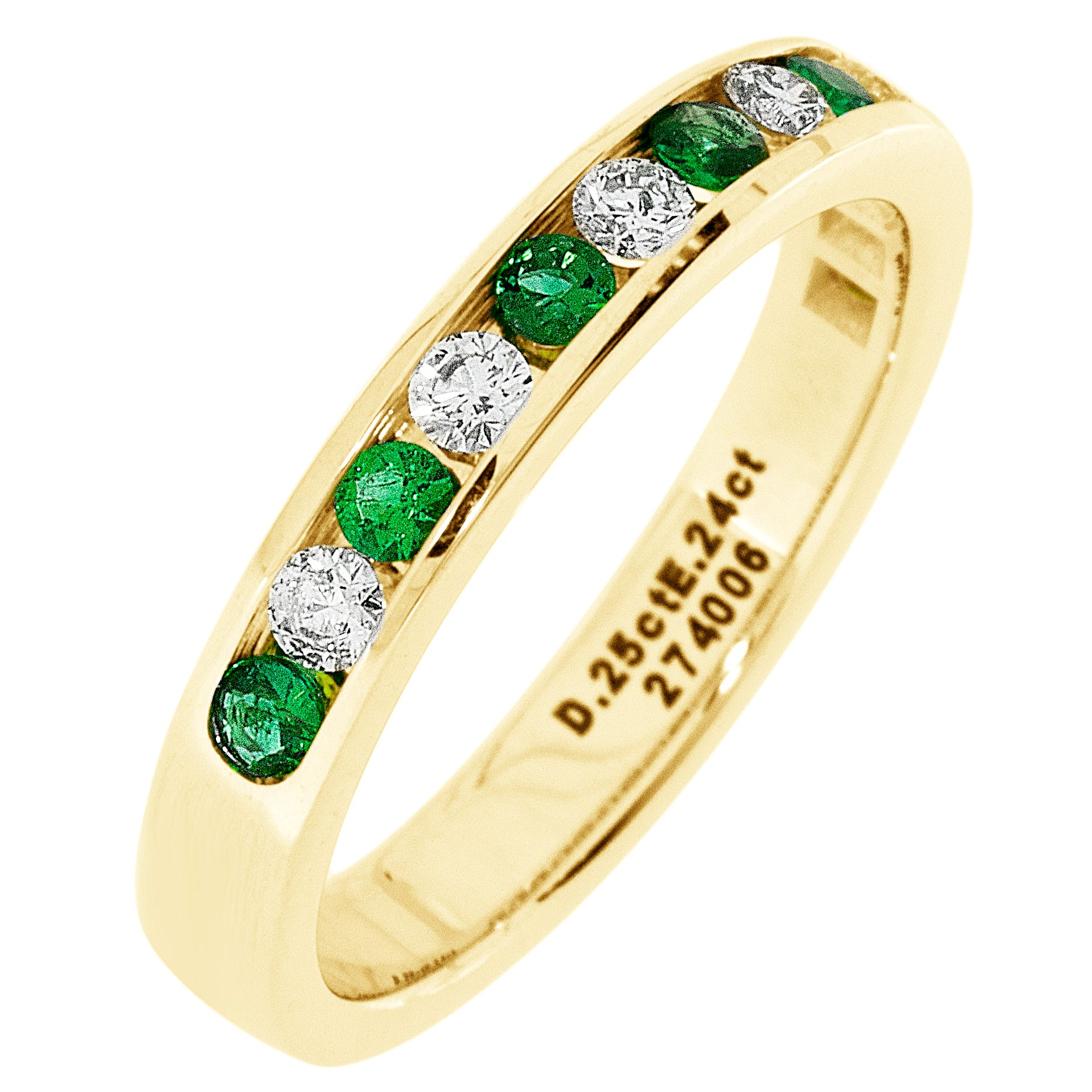 Diamond & Emerald Channel Set 1/4ctw. Band in 14k Yellow Gold
