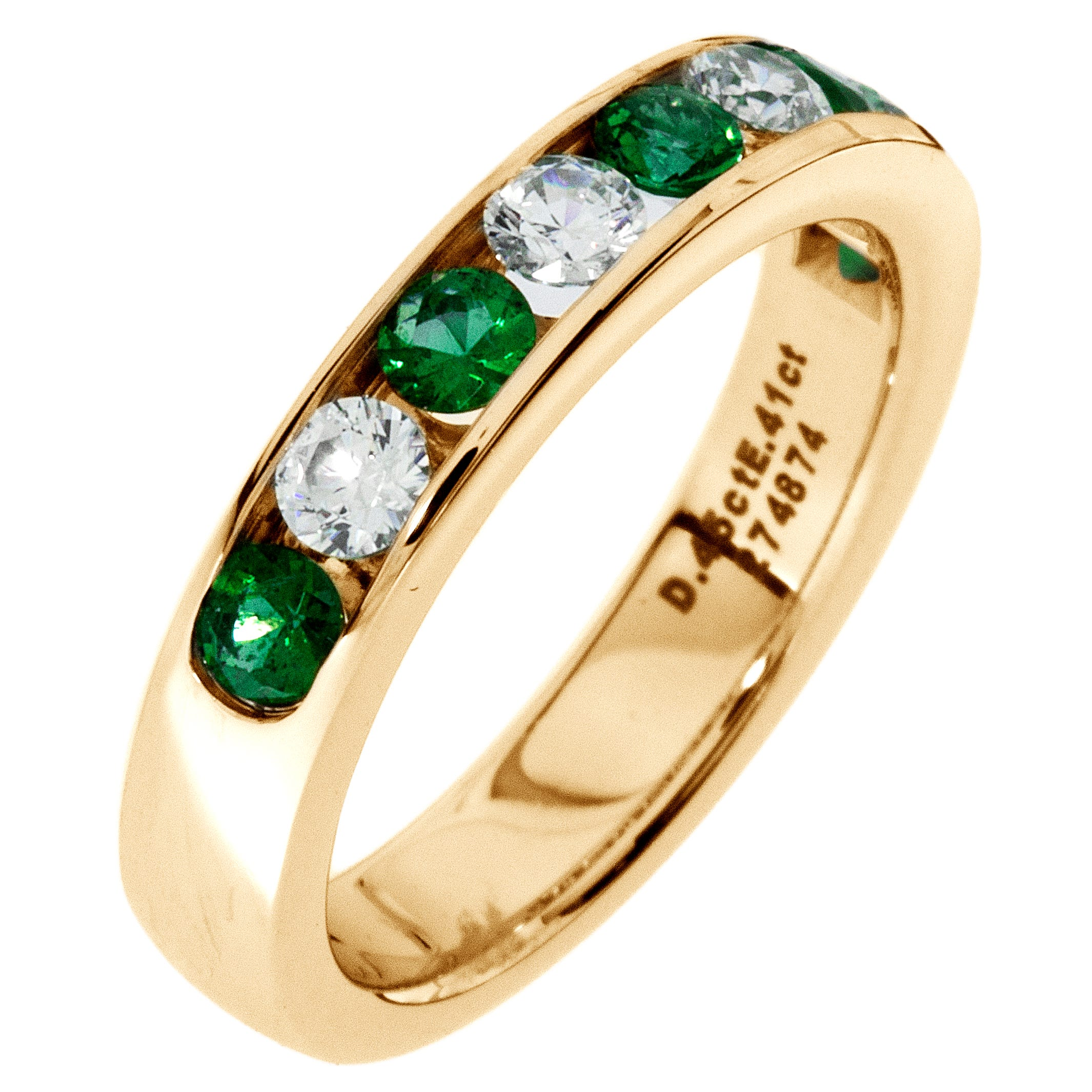 Diamond & Emerald Channel Set 0.55ctw. Band in 14k Yellow Gold
