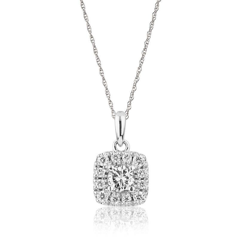 JK Crown® Diamond Halo Pendant in 14k White Gold