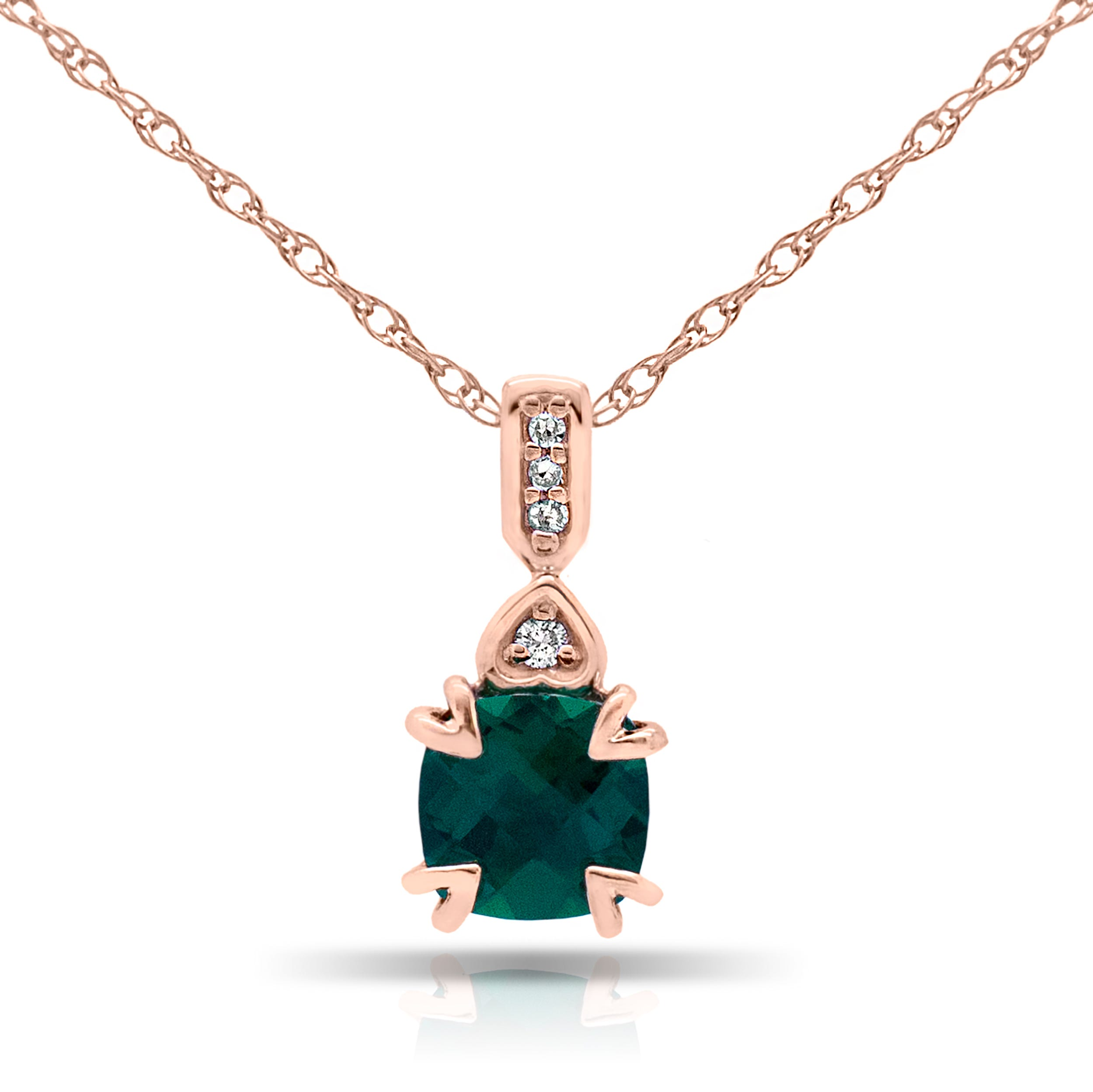Cushion Created Emerald & Diamond Pendant in 10k Rose Gold