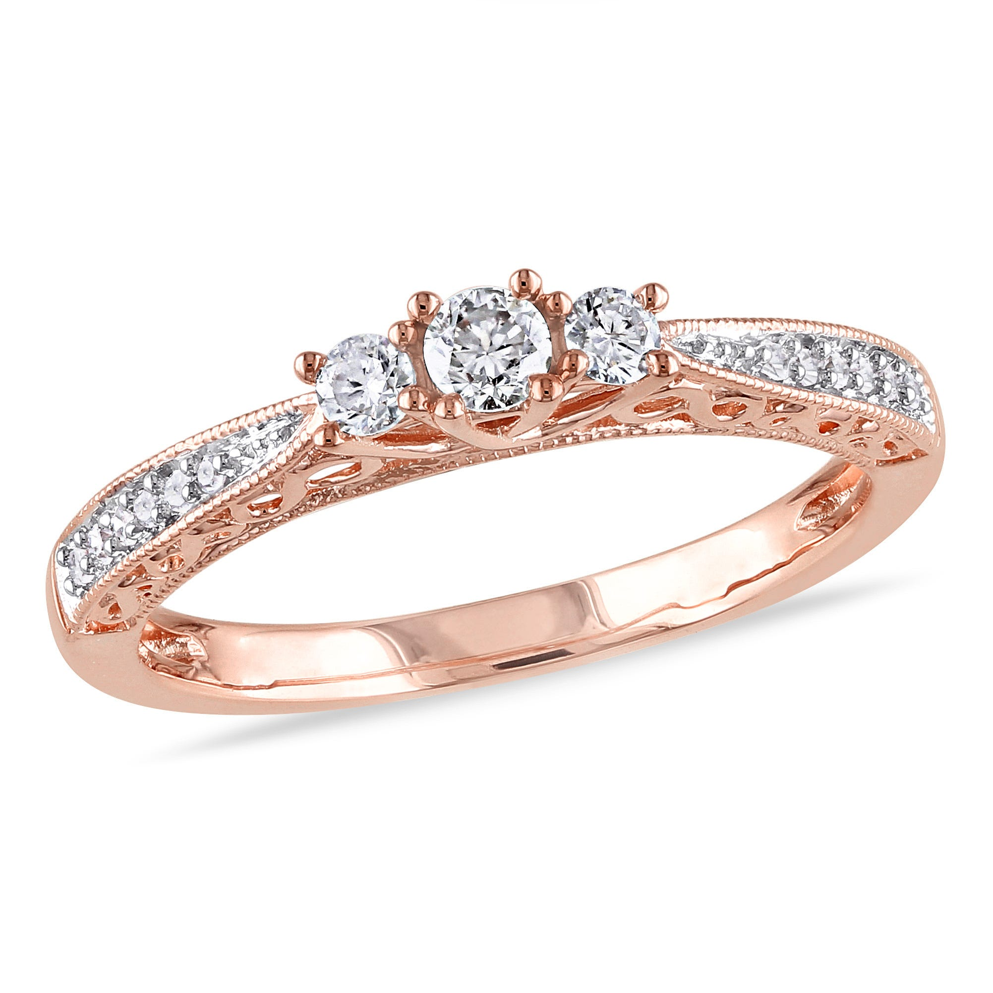 Round Cut Diamond 3-Stone Promise Ring 1/4ctw. in 10k Rose Gold