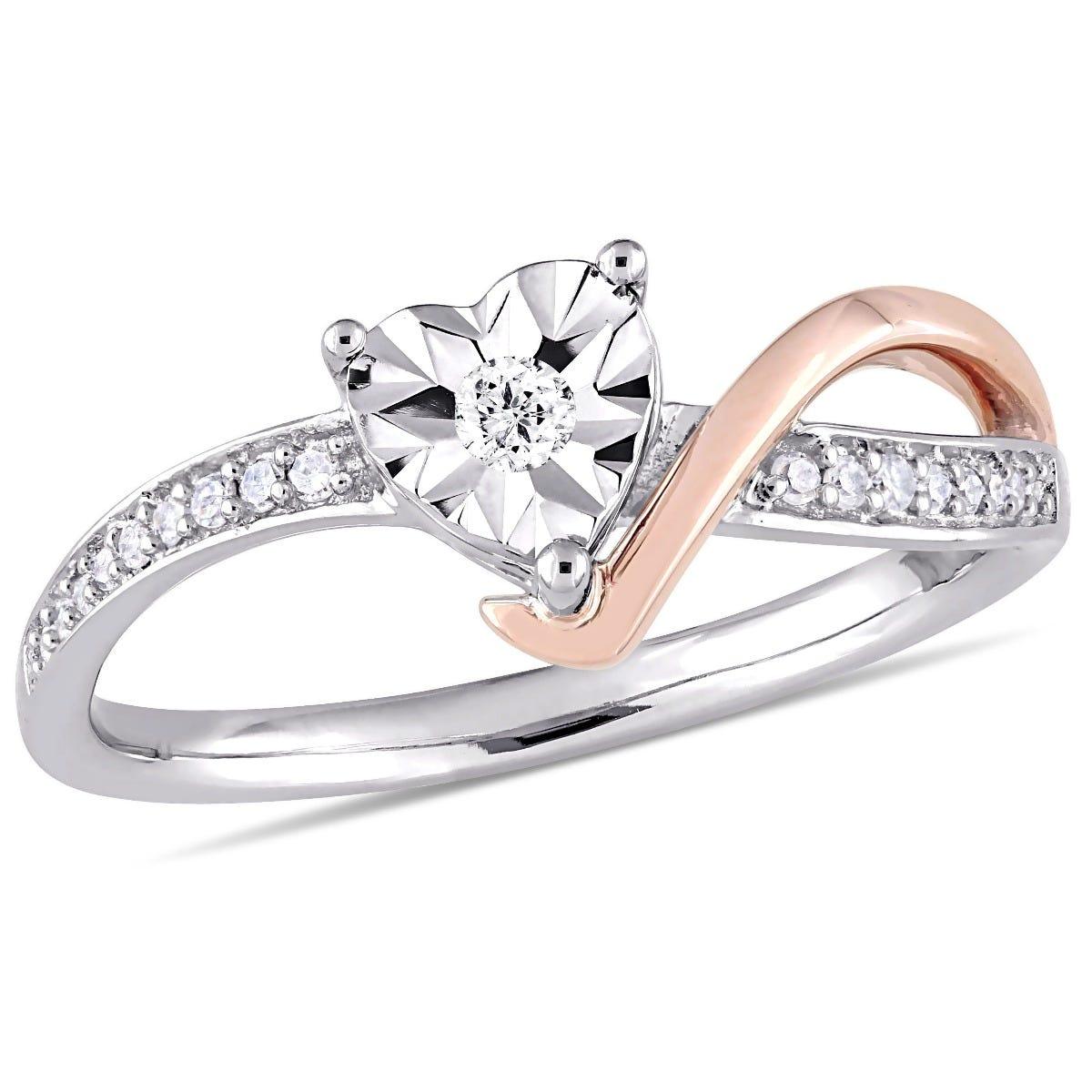 Heart-Shaped Diamond Twist Promise Ring 1/10ctw. in 10k White & Rose Gold