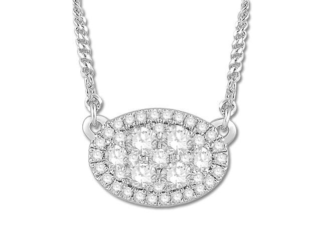 Sideways Oval 1/2ctw Diamond Pendant in 10k White Gold