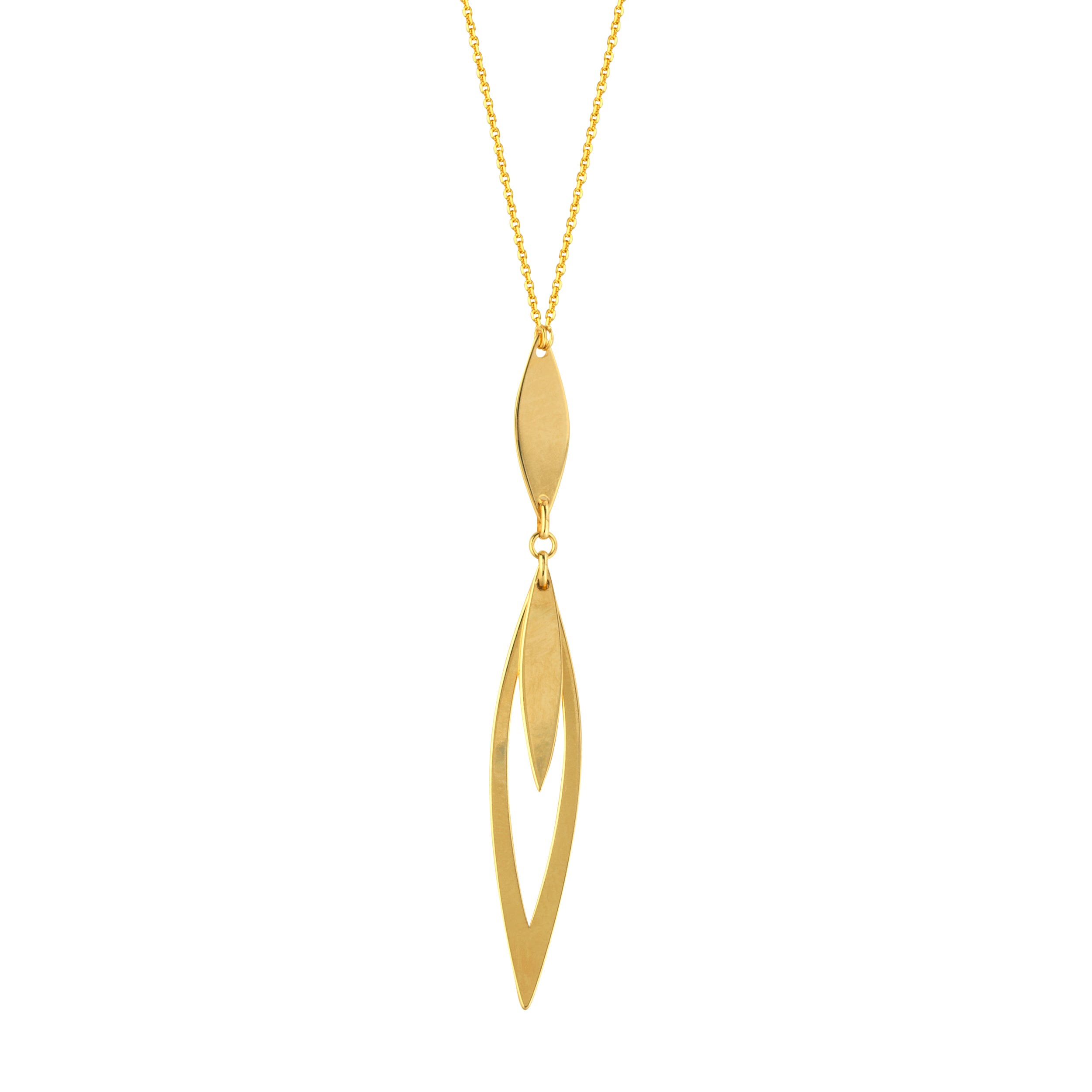 Triple Marquise Plate Fashion Lariat Necklace in 14k Yellow Gold
