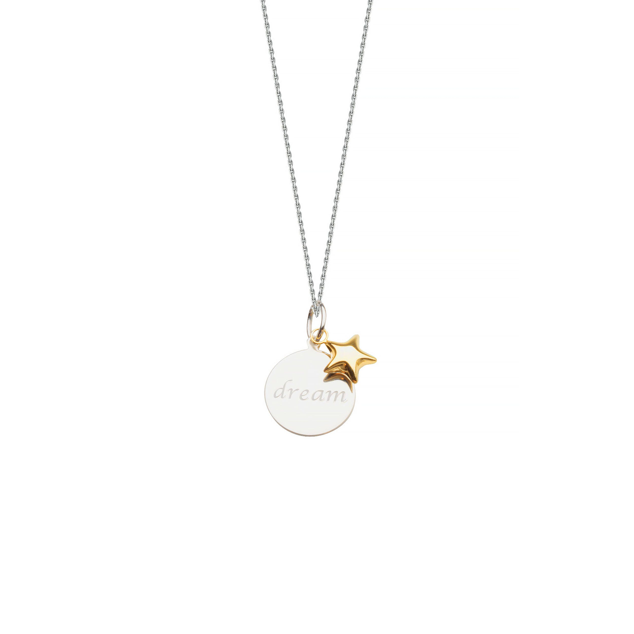Dream Disc & Star Charm Pendant in Sterling Silver & 14k Gold