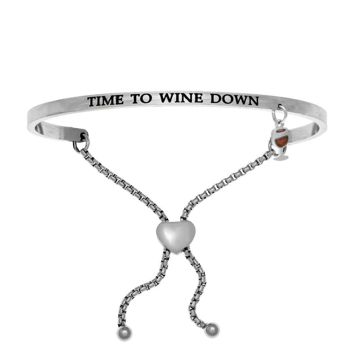 Time To Wine Down. Intuitions Bolo Bracelet in White Stainless Steel