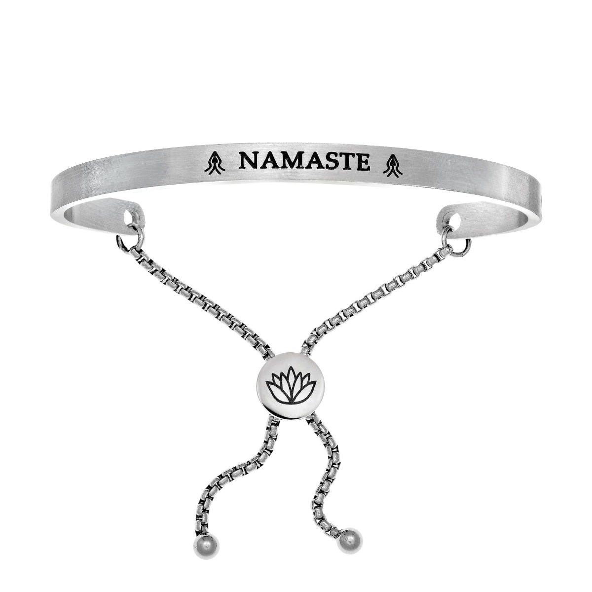 Namaste. Intuitions Bolo Bracelet in White  Stainless Steel