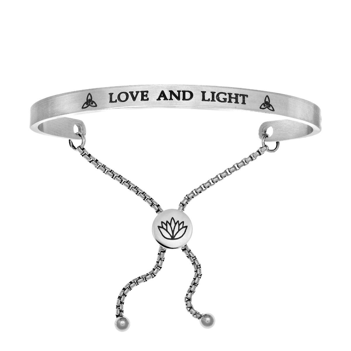 Love and Light. Intuitions Bolo Bracelet in White Stainless Steel