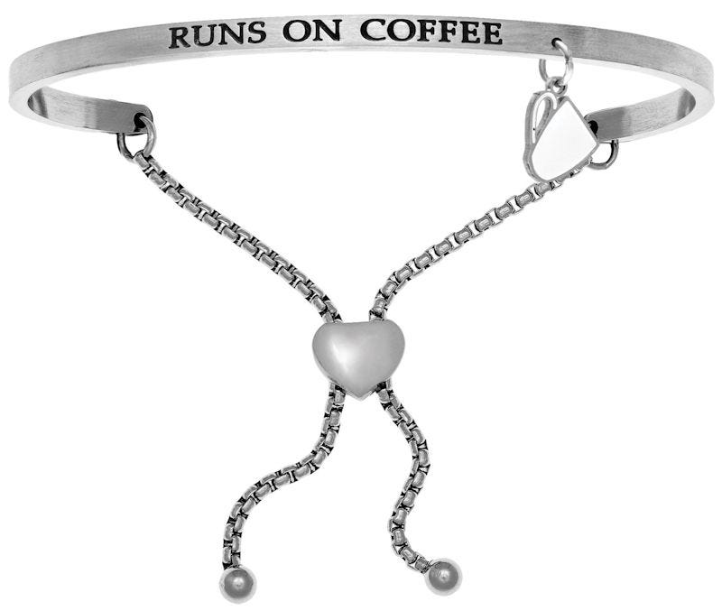 Runs on Coffee. Intuitions Bolo Bracelet in White Stainless Steel