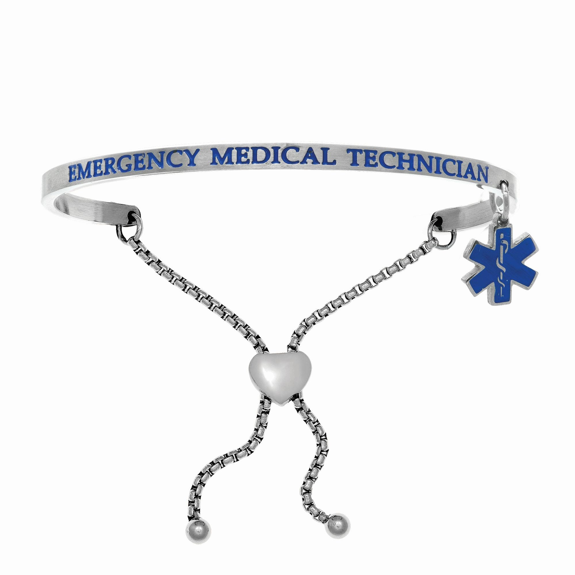 Emergency Medical Technician. Intuitions Bolo Bracelet in White Stainless Steel