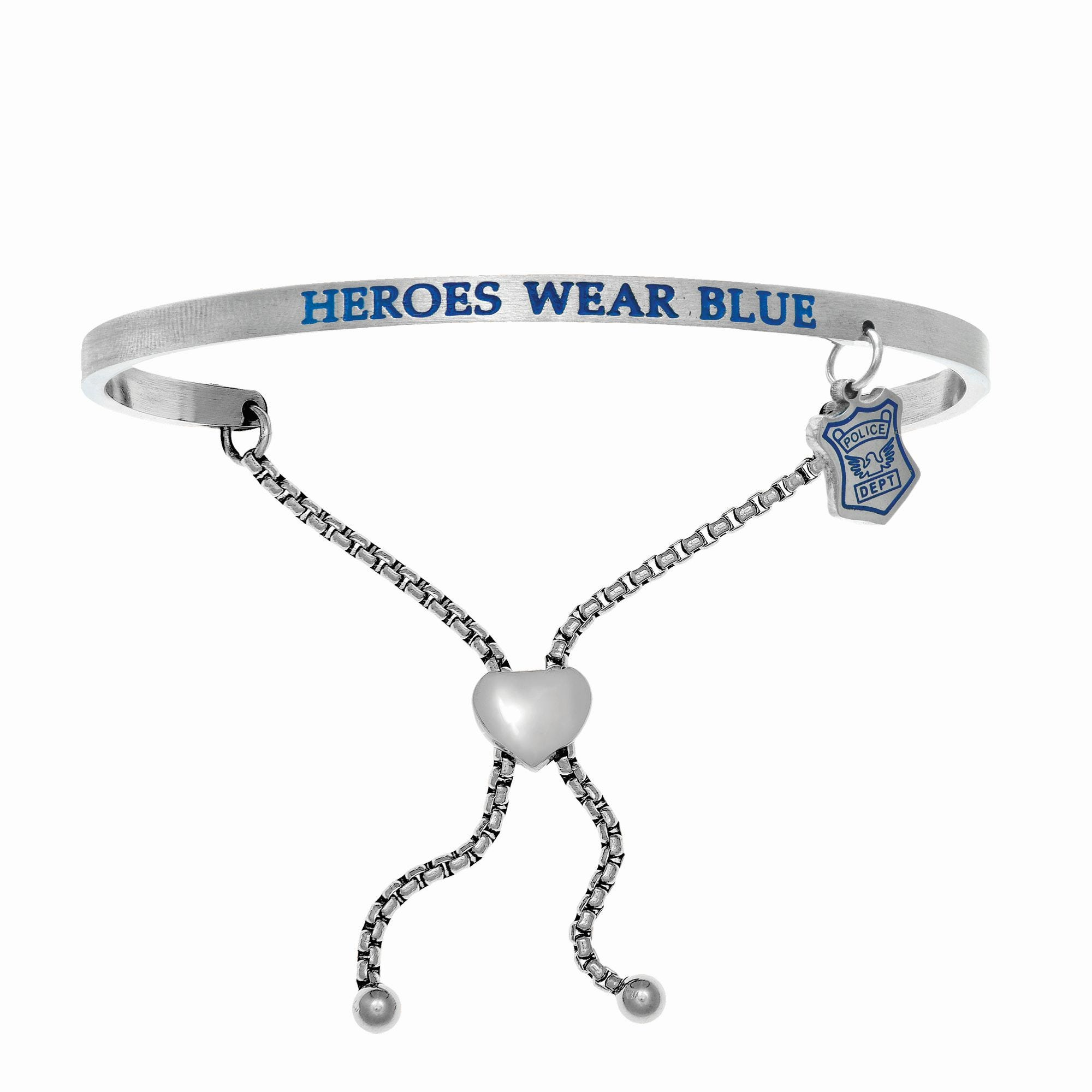 Heroes Wear Blue. Intuitions Bolo Bracelet in White Stainless Steel