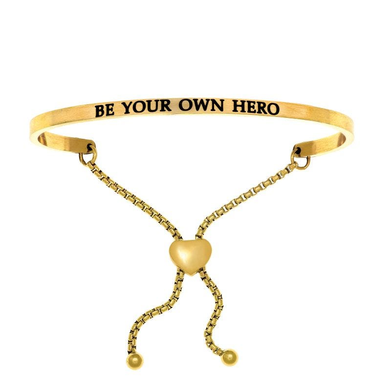 Be Your Own Hero. Intuitions Bolo Bracelet in Yellow Stainless Steel
