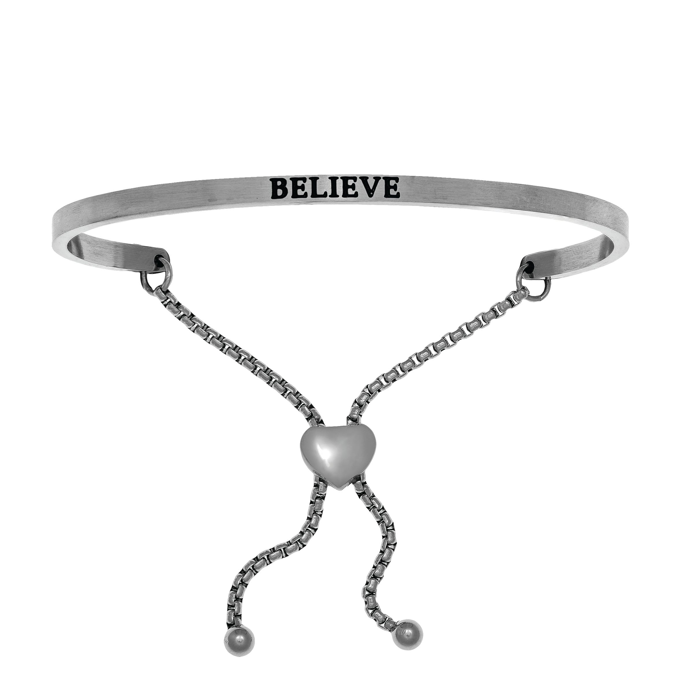 Believe. Intuitions Bolo Bracelet in White Stainless Steel