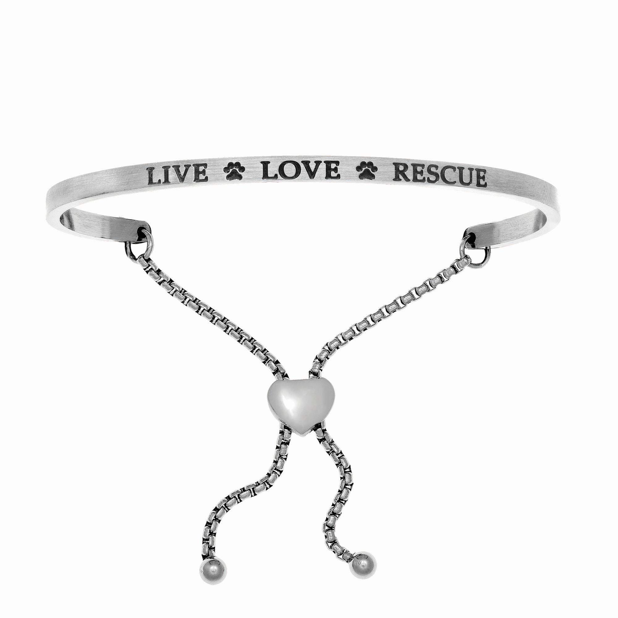 Live Love Rescue. Intuitions Bolo Bracelet in White Stainless Steel