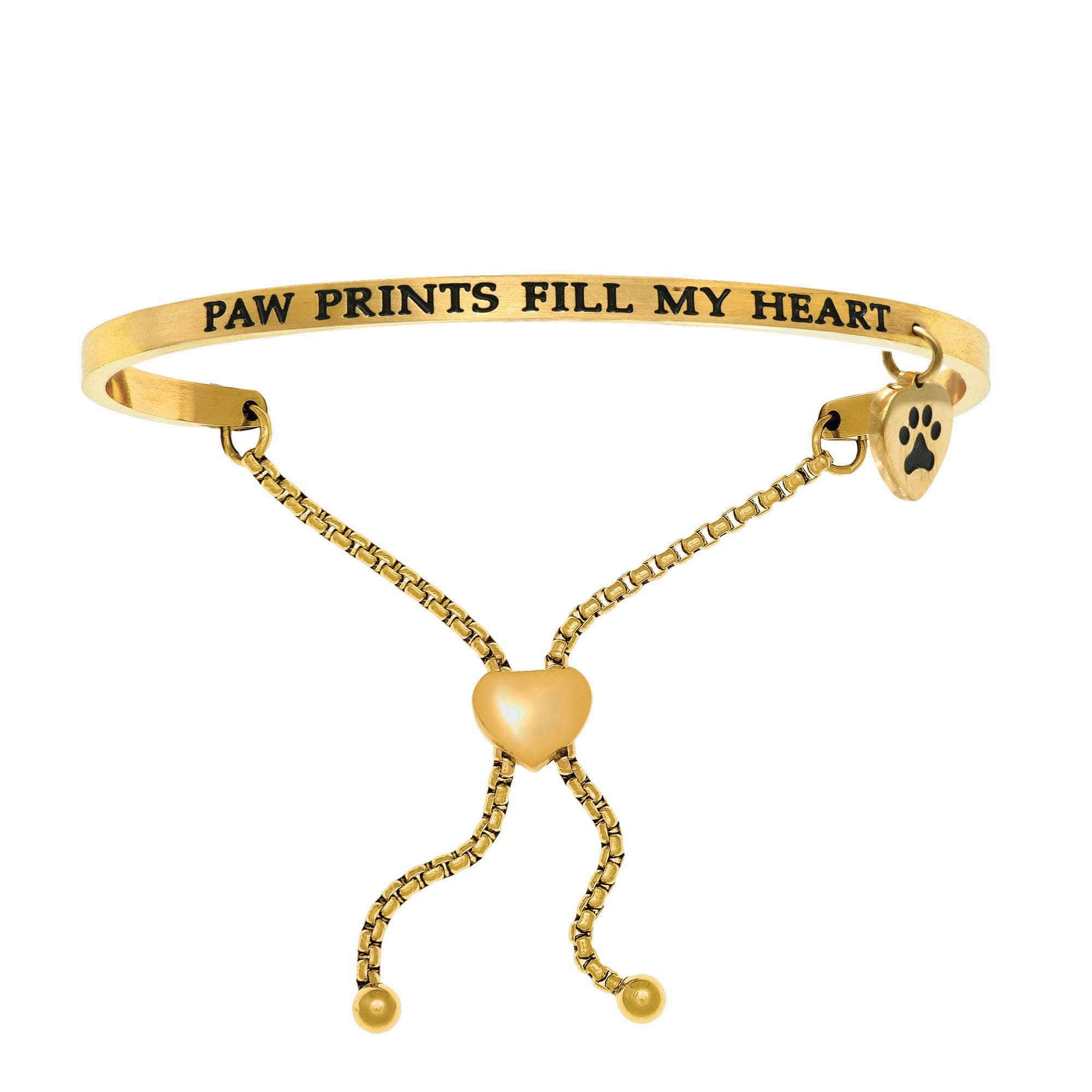 Paw Prints Fill My Heart. Intuitions Bolo Bracelet in Yellow Stainless Steel
