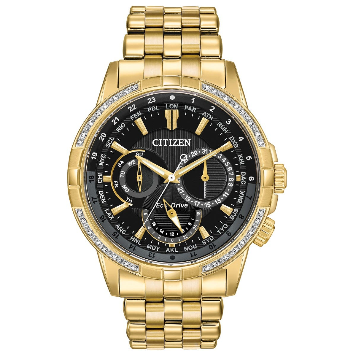 Citizen Eco-Drive® Calendrier Diamond Accent Gold-Tone Watch with Black Dial BU2082-56E