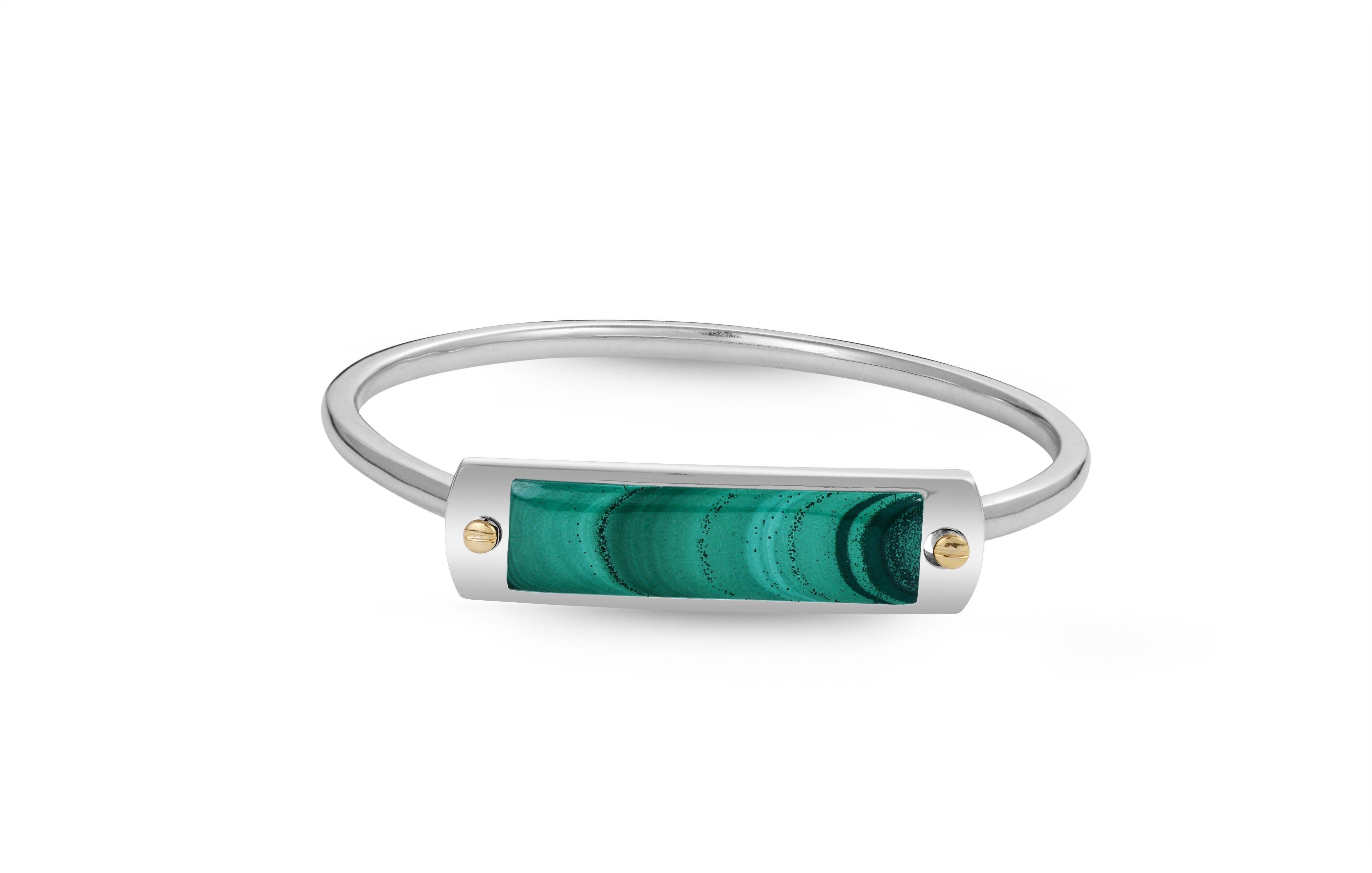 Malachite Big ID Cuff Bracelet in Sterling Silver