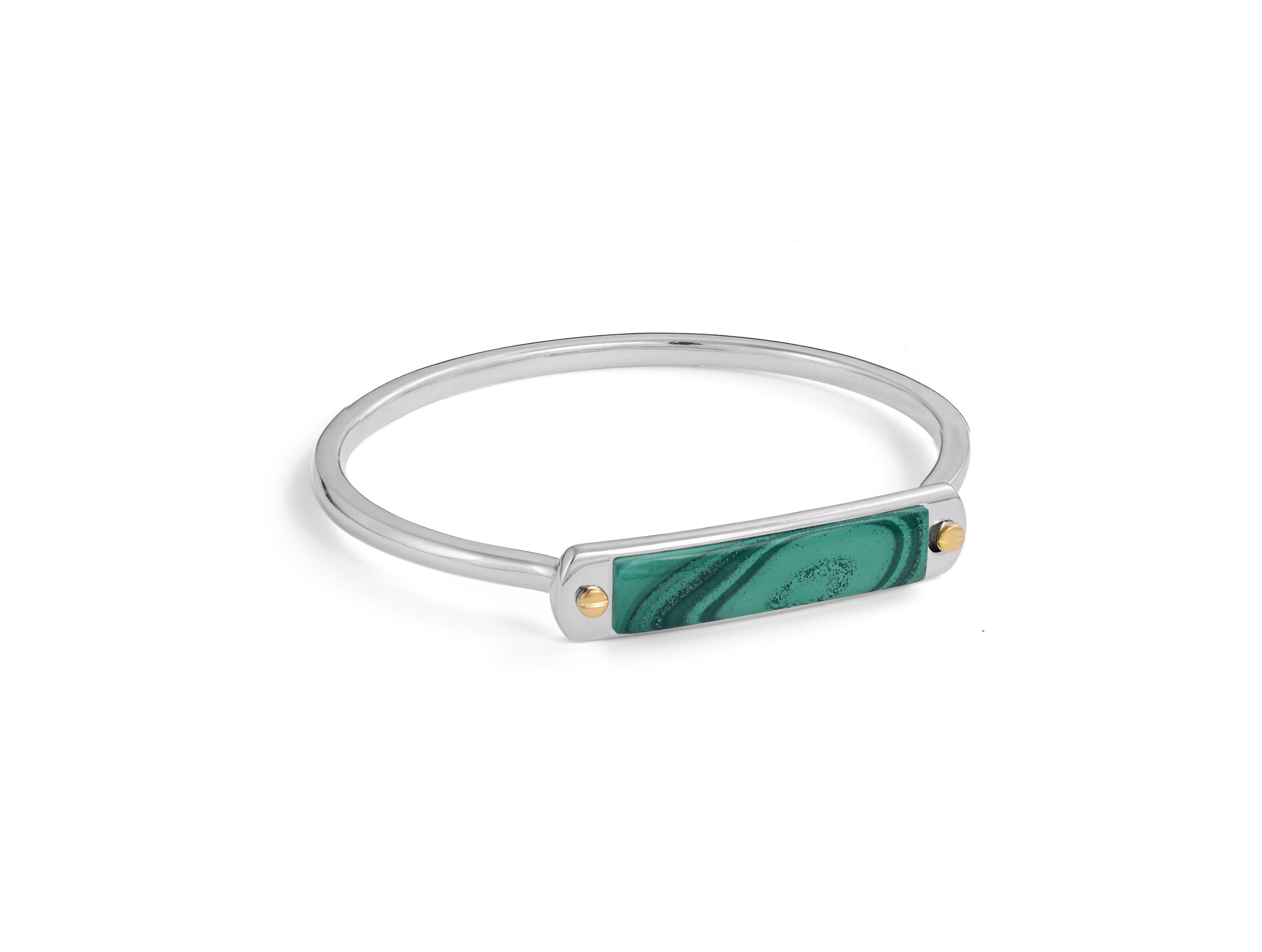 Malachite Small ID Cuff Bracelet in Sterling Silver