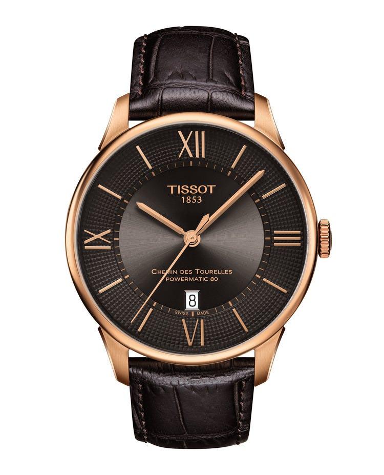 Tissot Men's Chemin Des Tourelles Powermatic Brown Leather Strap 42mm Watch T0994073644800