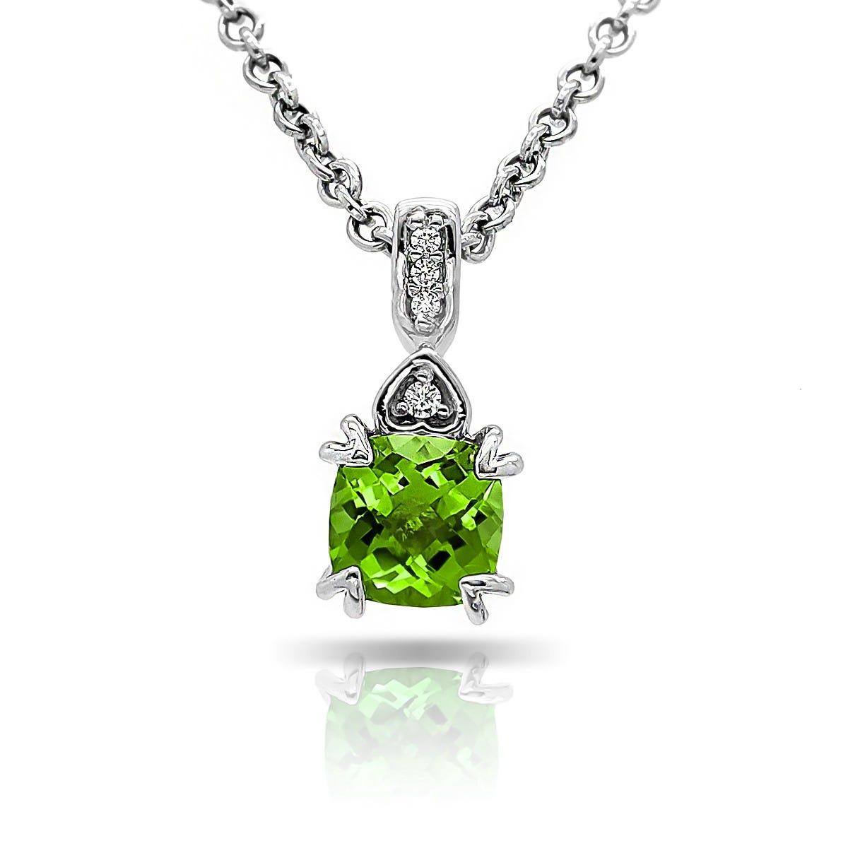 Peridot & Diamond 'Hearts' Pendant in 10k White Gold