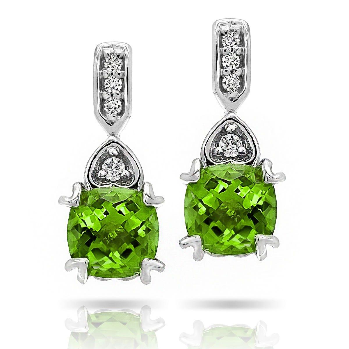 Peridot & Diamond 'Hearts' Drop Earrings in 10k White Gold