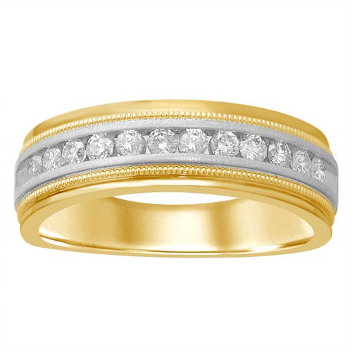 Men's Channel-Set Round Diamond Ring in 14k Yellow & White Gold