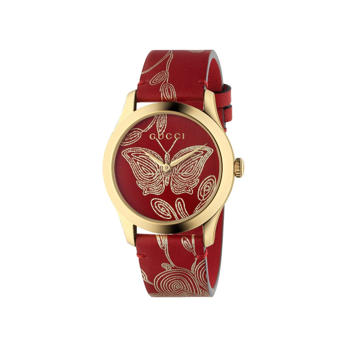 Gucci G-Timeless Red Butterfly Leather Strap Watch YA1264054