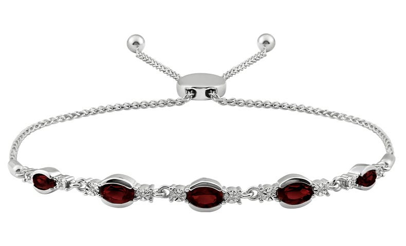 Oval Garnet & Diamond Bolo Bracelet in Sterling Silver