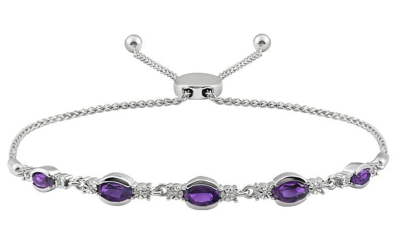 Oval Amethyst & Diamond Bolo Bracelet in Sterling Silver