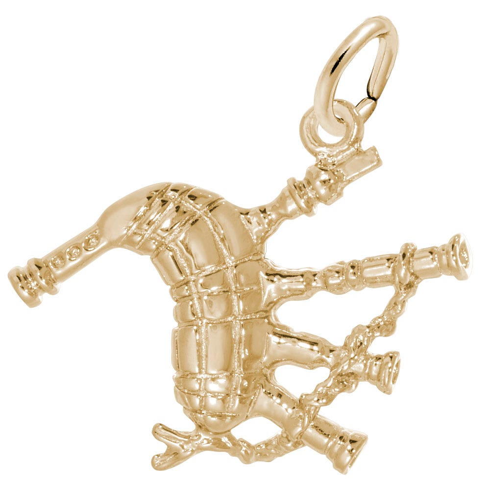 Bagpipes Sterling Silver & Yellow Gold Plated Charm