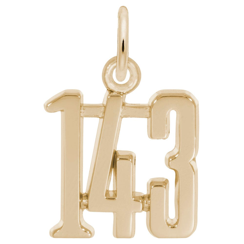 I Love You 1-4-3 Sterling Silver & Yellow Gold Plated Charm