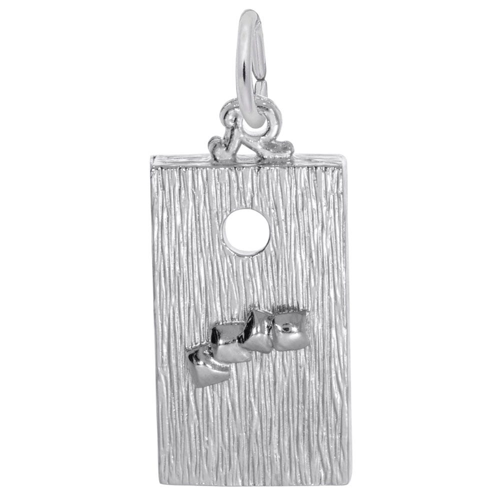 Corn Hole Game Sterling Silver Charm