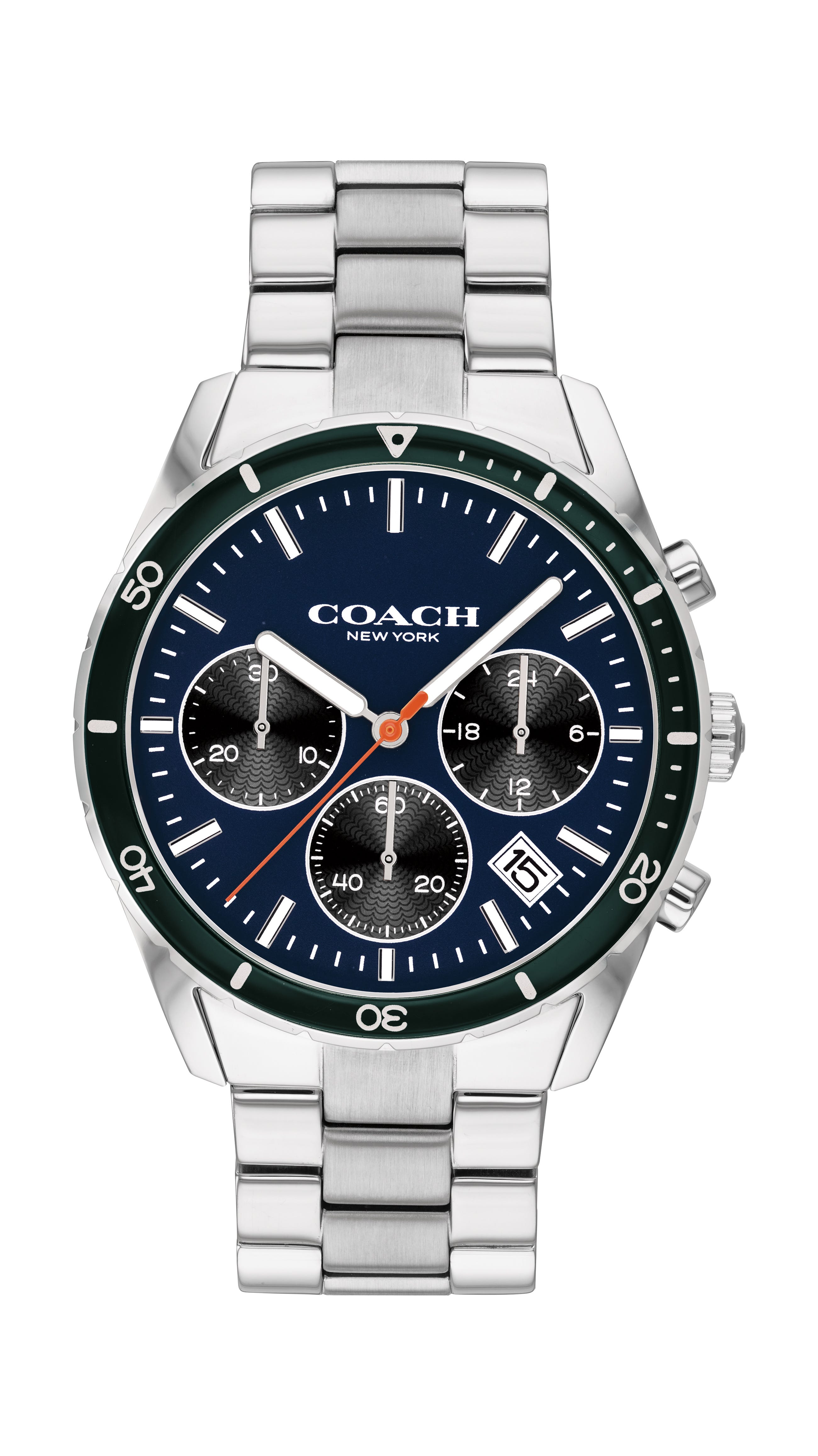 COACH Men's Thompson Sport Stainless Steel blue dial with black bezel 41mm Watch 14602383
