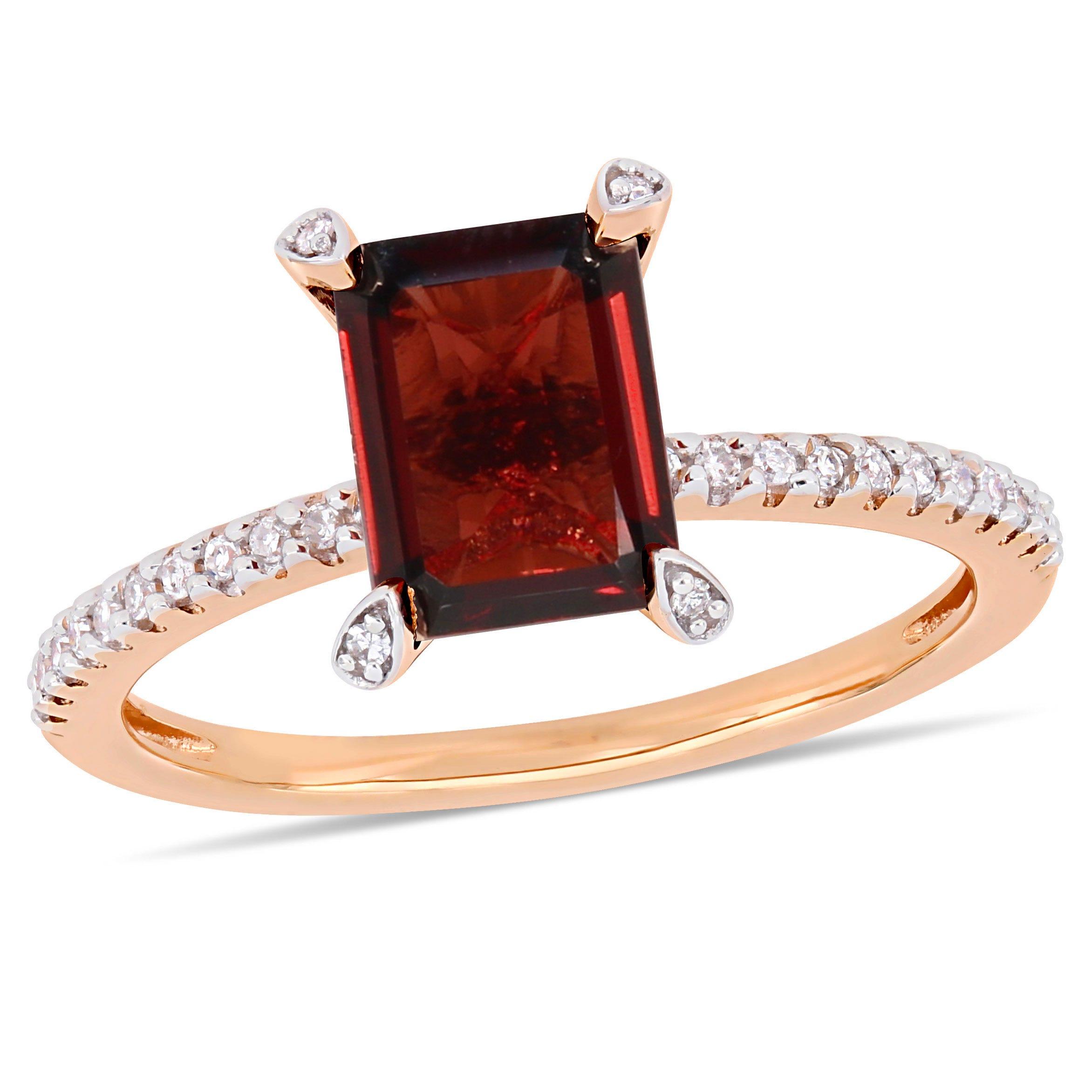 Emerald-Cut Garnet Engagement Ring in 10k Rose Gold