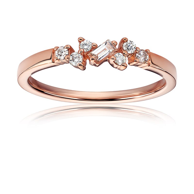 Round & Baguette Diamond Scatter Ring in 10k Rose Gold