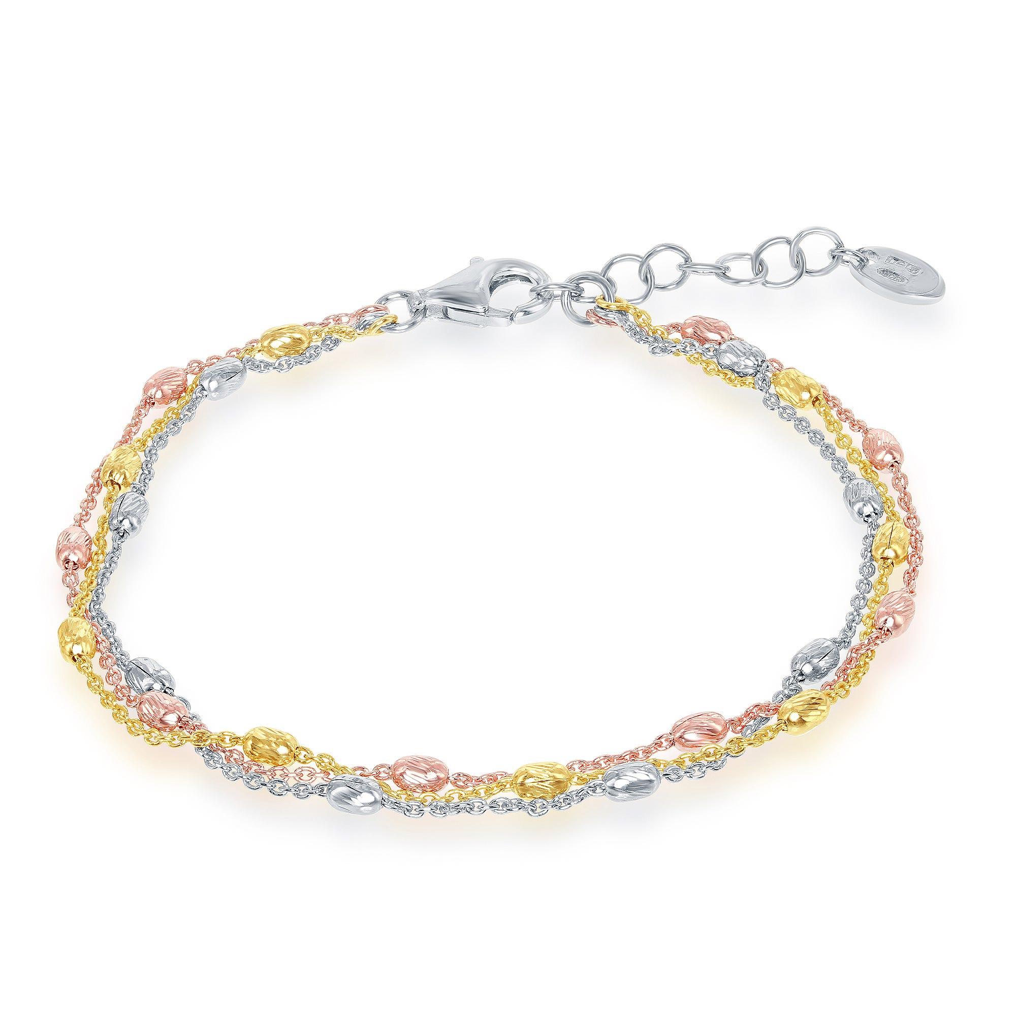 Tri-Color Triple Strand Oval Bead Bracelet in Sterling Silver