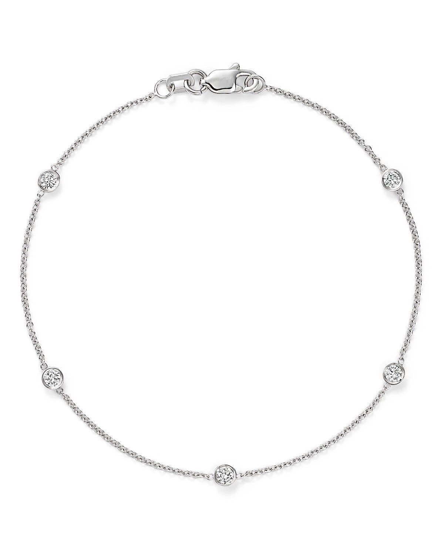 Diamond Five Station Bracelet 1/4ctw in 14K White Gold