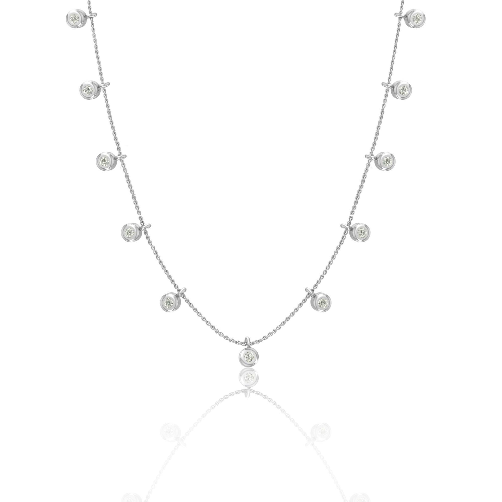 Multi Diamond Bezel Dangle Necklace in Sterling Silver