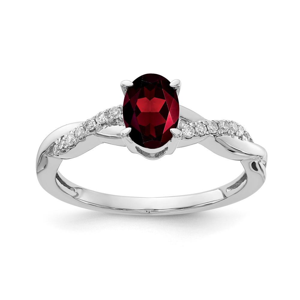 Garnet & Diamond Oval Twist Ring in 10k White Gold