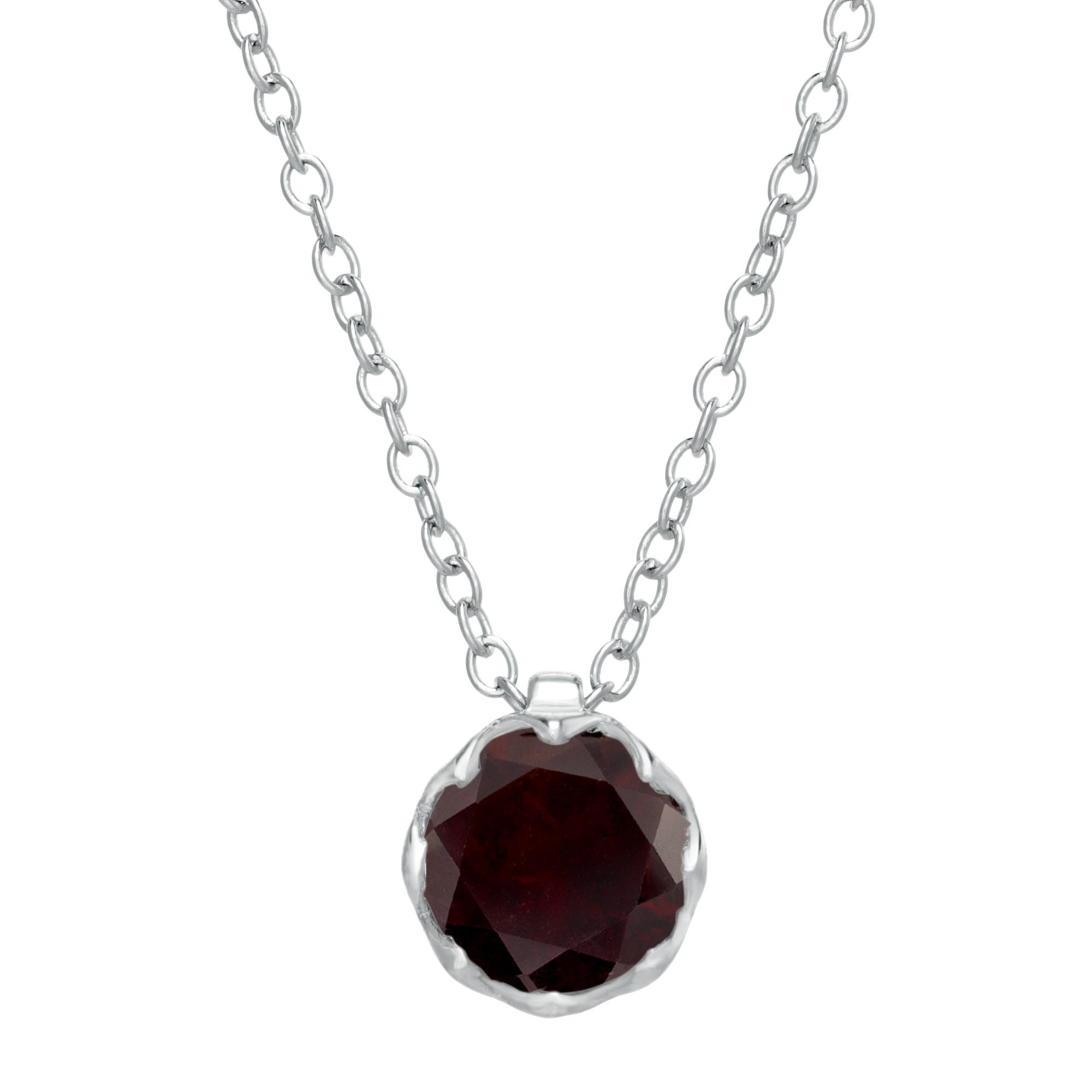 Round Garnet Gemstone Pendant in Sterling Silver