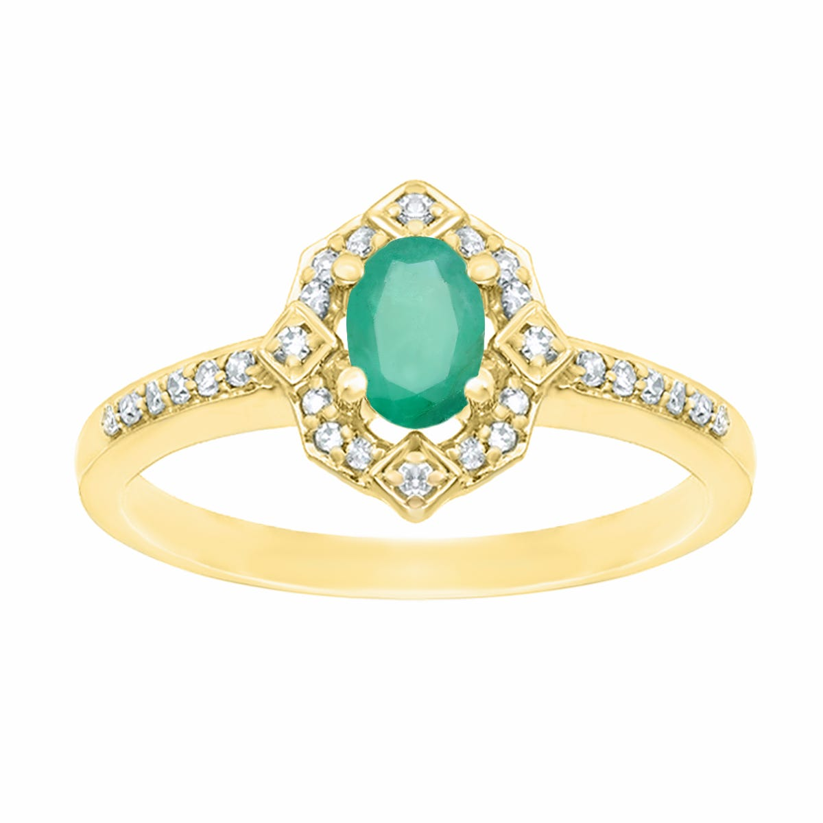 Oval Emerald and Diamond Ring 1/8ctw in 10k Yellow Gold