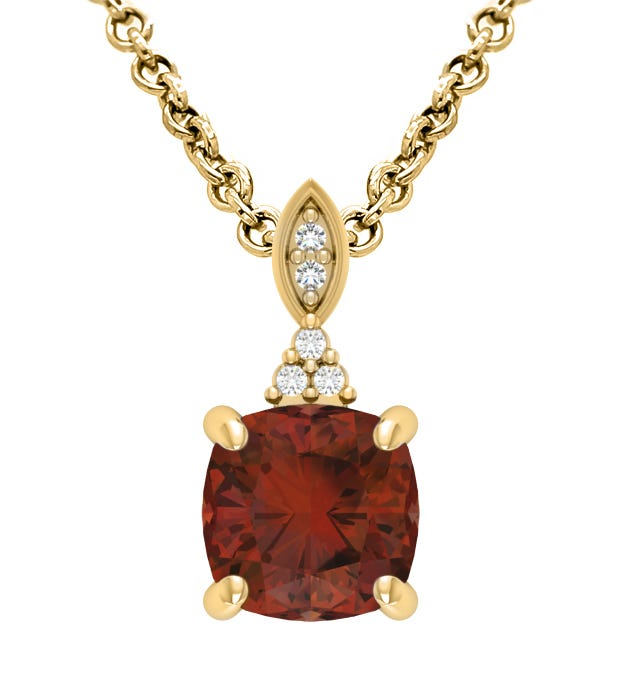 Garnet & Diamond Pendant in 10k Yellow Gold