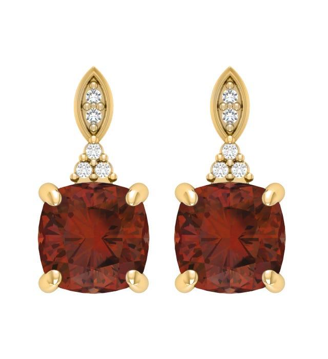 Garnet & Diamond Earrings in 10k Yellow Gold