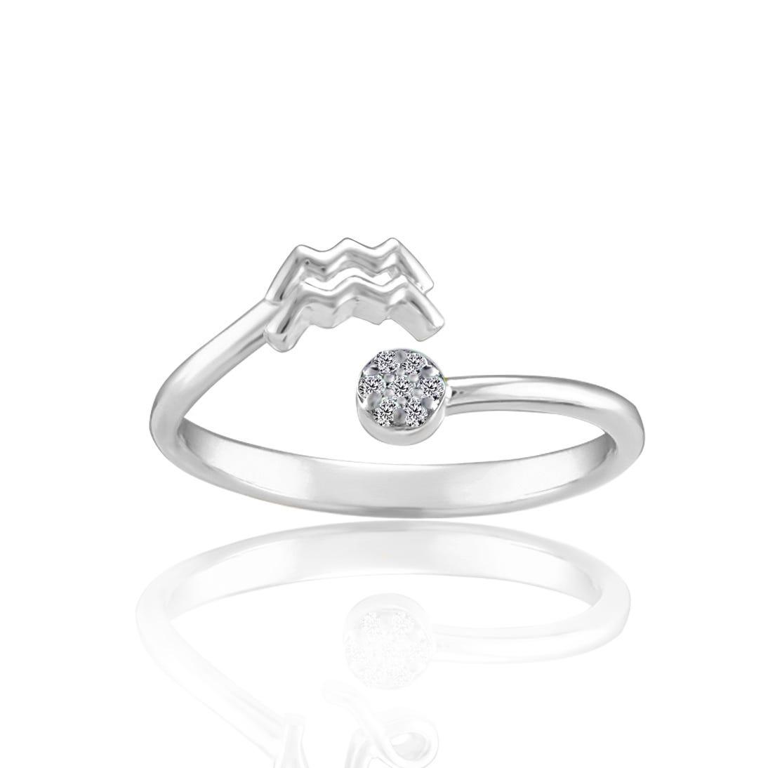 Zodiac Diamond Aquarius Fashion Ring in Sterling Silver