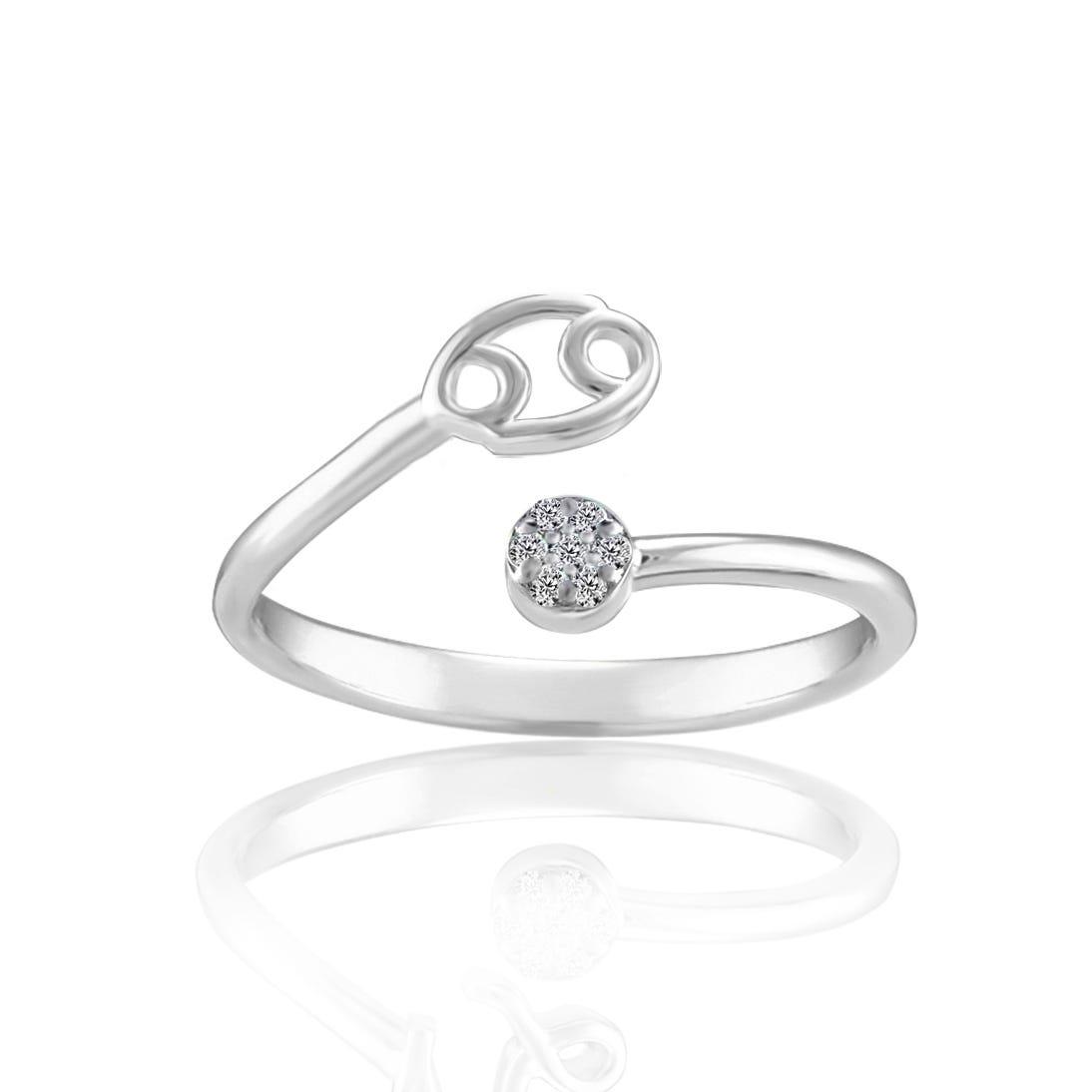 Zodiac Diamond Cancer Fashion Ring in Sterling Silver